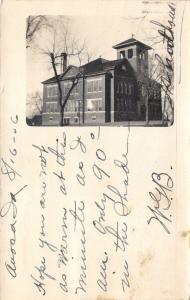 Avoca Iowa~School Building~Bell Tower~1906 RPPC Postcard