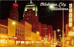 Oklahoma City Oklahoma~Main Street @ Night~Penneys~Hales Bldg~Sturm's~Kerrs~'60s