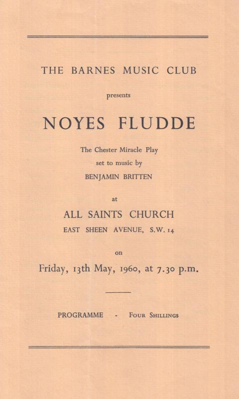 Barnes Richmond Upon Thames Church Noyes Fludde Play 1960s Theatre Programme