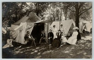 RPPC~Family Sits Outside Chautauqua? Tent #37~Merry Widow's Hat~Matriarch~c1910