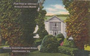 Virginia Charlottesville Front View Of Ash Lawn Home Of James Monroe