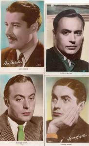 Don Ameche Tyrone Power Charles Boyer 4x Vintage Signed Postcard s
