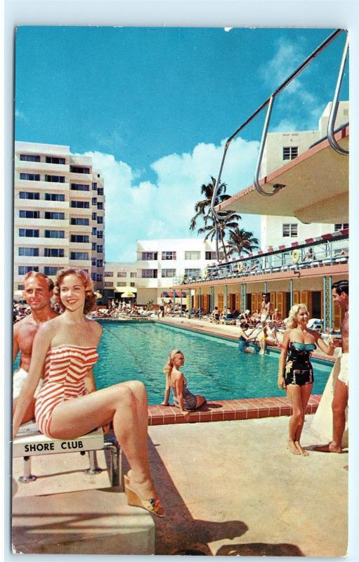 1960s Shore Club Hotel Pool Babe Women Miami Beach Florida Vintage