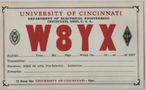 QSL, W8YX, University of Cincinnati, Ohio, blank card