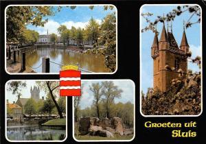 Netherlands Groeten uit Sluis Tower Clock Tour River Street Cars River