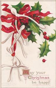 Happy Christmas Holly and Wishbones 1910 Signed Clapsaddle