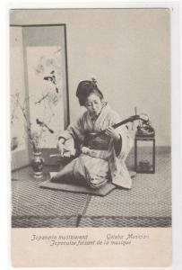 Japanese Woman Music Geisha Musician Stringed Instrument Japan 1907c postcard