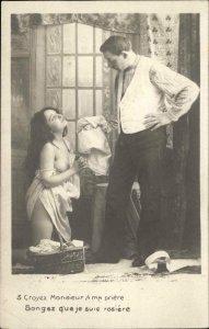 Nude Woman Bent Knee Begs Man Women's Rights Social History c1910 RPPC