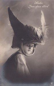 French Female Glamour Viking Warrior Helmet France Postcard