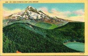 Vtg Lin Carte Postale - Mt.Capuche Montrant Lost Lac Ou Oregon Unp