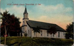 Sioux Falls South Dakota~Catholic Church on Hilltop~c1910 Postcard