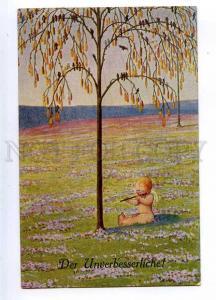 187387 COMIC Nude CUPID Angel w/ Pipe by KRIWEG Vintage PC
