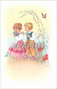 Postcard Old Children Butterfly Flowers