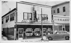 Lincoln ME The Bon Ton Restaurant & Hotel Old Car Real Photo Postcard