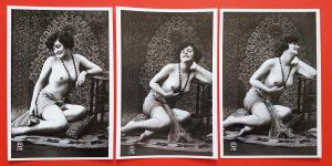 Set of 3 NEW Vintage 1920's French Repro Postcards, Risque, Nude, Erotic 31C