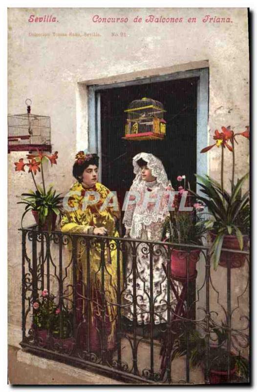 Old Postcard Sevilla Concurso Balcones in friana Folklore Woman