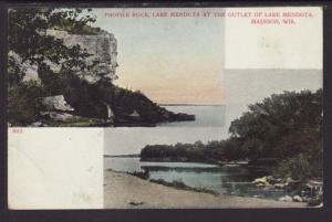 Profile Rock,Mendota Lake,Madison,WI Postcard