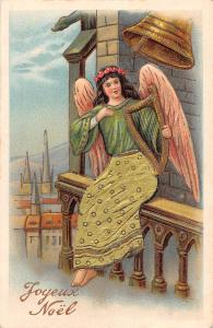 Joyeux Noel, Christmas, Lady Woman Angel, Harp, Bell 1905