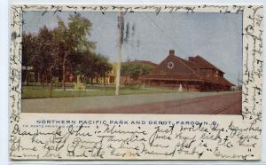 Northern Pacific Railroad Depot North Dakota 1905 postcard