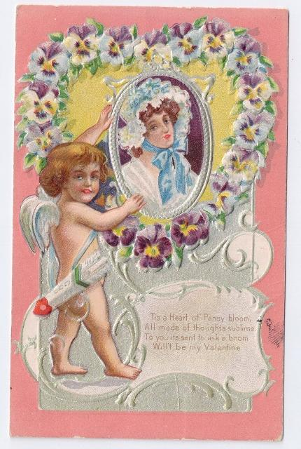Vintage Valentine Postcard Cupid Pansy Heart Pretty Woman Silver Gilt Embossed