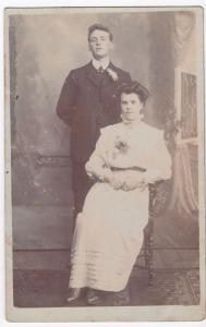 Anonymous Edwardian Couple Studio Portrait, Costume Interest RP PPC, c 1900's