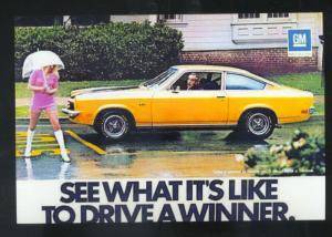 1973 CHEVROLET VEGA CAR DEALER ADVERTISING POSTCARD '73 CHEVY PRETTY GIRL