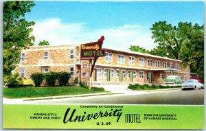 Kansas City KS Postcard UNIVERSITY MOTEL Highway 69 Roadside Chrome 1950s Unused