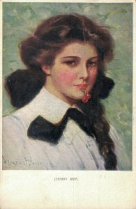 Artist Signed Art Nouveau Beautiful Lady with cherries 05.61