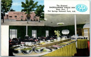Hot Springs National Park Postcard SMORGASBORD CIRCLE INN Route 7 Roadside Linen