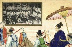 korea coree, Native People at Korean Feast, Artist Signed TO (1910s) Postcard