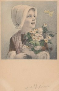 M.M.VIENNE Nr. 296 : 1900-10s , Girl with flowers looks at a butterfly