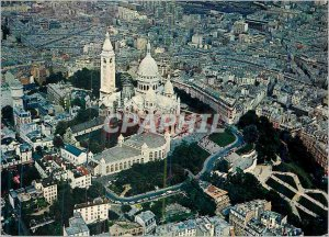 Modern Postcard Paris Aerial view of the Sacre Coeur Basilica