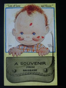 Australia 12 Image NOVELTY Brisbane PULL-OUT c1950s Mabel Lucie Attwell Postcard