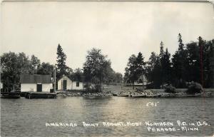 Penasse Minnesota~American Point Resort~Lakefront~1950s Real Photo Postcard~RPPC