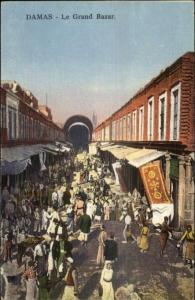 Damacus Damas Syria Le Grand Bazar c1910 Postcard