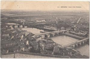 France, BEZIERS, Vue a Vol d'oiseau, 1908 used Postcard