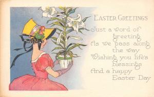 Easter~Art Deco~Sunbonnet Lady Holds Lily Pot~Fingerless Gloves~1920s Postcard