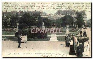 Old Postcard Paris Tuileries The Bird Man TOP