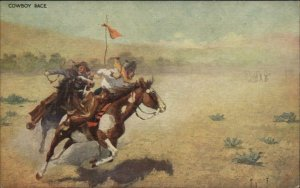 John Innes - Cowboys Horse Racing c1905 Postcard