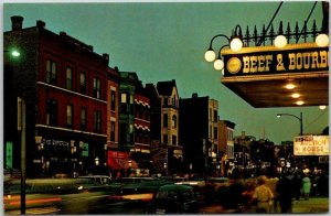Chicago, Illinois Postcard CHICAGO'S OLD TOWN Wells Street Night View c1960s