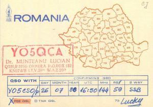 Romania Radio Amateur QSL card country map Munteanu Lucian Timisoara YO5QCA