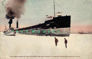1907 Duluth Minnesota PC: Gilchrist Transport Co. Steamer Ireland & Tugs in Ice