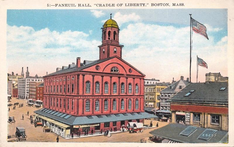 Boston MA~Lot of 5 POSTCARDS 1920s~Faneuil Hall-State Houses-Churches