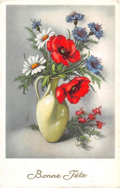 Bonne Fete, poppy daisy flowers, fleurs, vase, birthday, fantasy