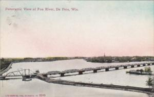 Wisconsin De Pere Panoramic View Of Fox River 1910