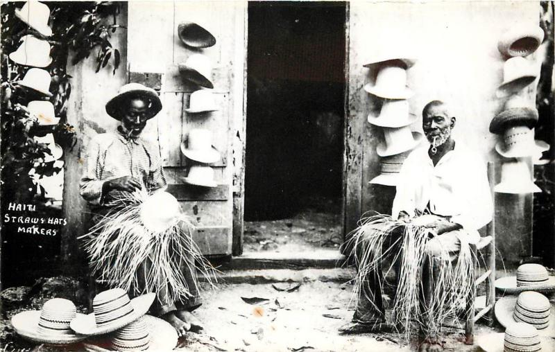 RPPC Postcard Haiti Men weaving Straw Hats Caribbean Islands unposted