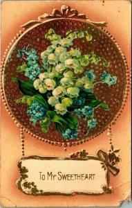 Pour Mon Sweetheart Fleurs Doré en Relief Saint Valentin Carte Postale Unp