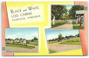 Postcard VA Fairfield Black and White Log Cabins Multiview Vintage Linen E10