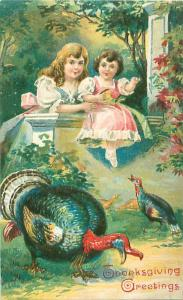 Embossed Thanksgiving Greetings Postcard Frilly Girls and Turkeys No 730 Saxony