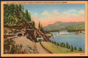 Oregon Highway and Railway Tunnels Bonneville Dam Columbia River - LINEN